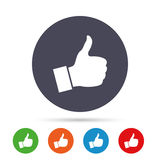 Like sign icon. Hand finger up symbol. Like sign icon. Thumb up sign. Hand finger up symbol. Round colourful buttons with flat icons. Vector Stock Photography