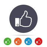 Like sign icon. Hand finger up symbol. Like sign icon. Thumb up sign. Hand finger up symbol. Round colourful buttons with flat icons. Vector Stock Images