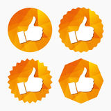 Like sign icon. Hand finger up symbol. Like sign icon. Thumb up sign. Hand finger up symbol. Triangular low poly buttons with flat icon. Vector Stock Photos