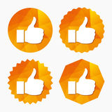 Like sign icon. Hand finger up symbol. Like sign icon. Thumb up sign. Hand finger up symbol. Triangular low poly buttons with flat icon. Vector Royalty Free Stock Photo