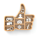 Like. Social media concept. Thumb up and apps icons. Royalty Free Stock Image