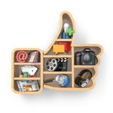 Like. Social media concept. Thumb up and apps icons. Stock Photo