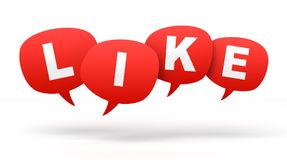 Like speech bubbles 3d concept illustration. Isolated on white background Stock Photography