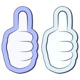 Like the sticker, fist with thumb up, Thumb up symbol, finger up, vector concept of support and approval. Social network vector icon for app, web site etc Stock Photos