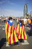 Like a superheros at National Day of Catalonia Stock Image