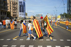 Like a superheros at National Day of Catalonia Stock Photo