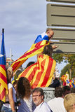 Like a superheros at National Day of Catalonia Royalty Free Stock Photo