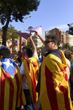Like a superheros at National Day of Catalonia Stock Photography