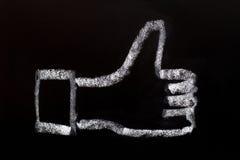 Like symbol drawn on blackboard Royalty Free Stock Photos