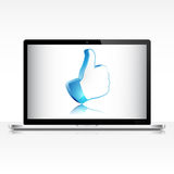 Like symbol on laptop screen Royalty Free Stock Photography