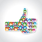 Like symbol made with colorful male and female icons Stock Images