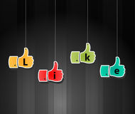 Like symbol, thumb up applique, vector illustratio Royalty Free Stock Photo