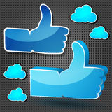 Like symbols with blue clouds Stock Images