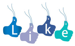 Like tags. Thumb up tags with letters LIKE Royalty Free Stock Image