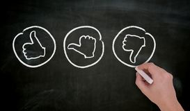 Like thumb is painted by hand with chalk on blackboard stock photo
