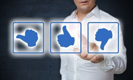 Like thumb touchscreen is operated by man concept royalty free stock photography