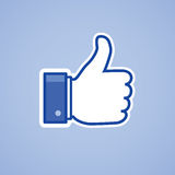 Like thumb up. On blue background vector illustration