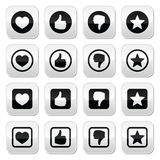 Like thumb up, love, favorite icons set Stock Photo