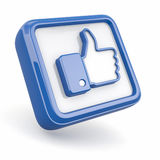 Like. Thumb up sign. On white background. 3d Royalty Free Stock Photography