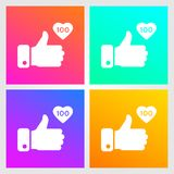 Like, thumbs up icons set on gradient background. Icon like 100. Social network symbol. Social media element. Message bubble. Vect. Or illustration vector illustration