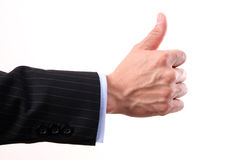Like thumbs up sign on white background Stock Photo