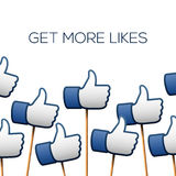 Like thumbs up symbols. Get more likes. Vector illustration Royalty Free Stock Photos