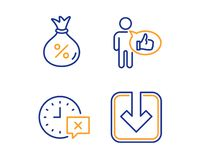 Like, Time and Loan icons set. Load document sign. Thumbs up, Remove alarm, Money bag. Download arrowhead. Vector vector illustration
