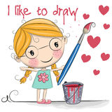Like to draw. Cute Cartoon girl with brush is drawing hearts stock illustration
