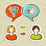 Like and twitter icons connecting people stock illustration