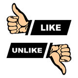 Like,unlike. Hands form signs it is like and it is unlike. Signs on a white background Royalty Free Stock Photo