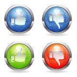 Like & Unlike Button. Set three dimensional round button with Like & Unlike icon, Easily Change the Color, , vector Royalty Free Stock Images