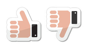 Like it Unlike buttons / labels. Thumb up, don't like icons set Stock Image
