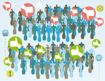 Like and unlike crowd groups. Social media public opinion concept with like and unlike groups, bubble icons, infographics elements and grunge texture Royalty Free Stock Photography