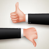 Like and Unlike Hand Gesture or Thumbs Up and Thumbs Down Hands. Of Professional Man in 3D Realistic Vector Illustration Royalty Free Stock Image