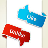 Like and unlike icons. Thumb up and thumb down signs for blogs and websites. Vector eps10 illustration Stock Photography