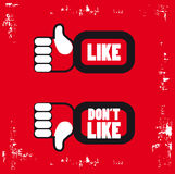 Thumb up and thumb down signs for blogs a. Red and Black Like and unlike icons poster. Thumb up and thumb down signs for blogs and websites Stock Image