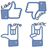 Like, Unlike, Love and Rock Buttons Stock Image