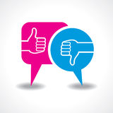 Like and unlike symbol with message bubble. Illustration of like and unlike symbol with message bubble Stock Photo