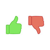 Like and unlike symbol. Thumbs up and thumbs down icons Royalty Free Stock Images
