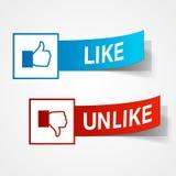 Like and unlike symbols. Thumb up and thumb down signs. Vector eps10 illustration Stock Photo