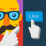 Like us Button with hipster man face Royalty Free Stock Photos