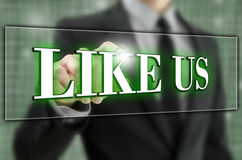 Like us button. Like us icon on virtual screen Stock Photos