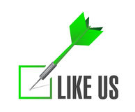 like us check dart sign concept Royalty Free Stock Photo
