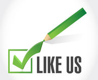 like us check mark sign concept Royalty Free Stock Image