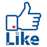 Like us on facebook hand. Vector illustration of like us hand thumbs up on white background stock illustration