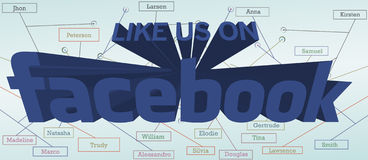 Like us Facebook - poster. Like us Facebook poster with names of people on the background Stock Image