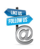 Like us and follow us online sign illustration Stock Photography