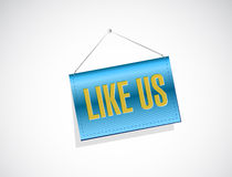 Like us hanging banner sign concept Stock Photography