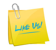 Like us memo post sign concept Stock Image