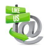 Like us online at sign illustration design Stock Photography